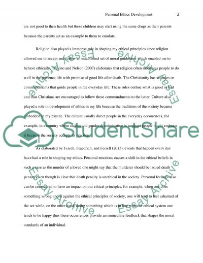 Personal Ethics Development essay example