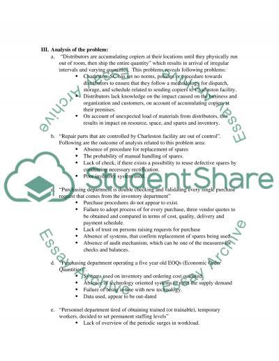 Operations Management Principles Examination essay example