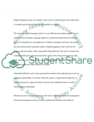 Teacher's Role in Classroom Management essay example