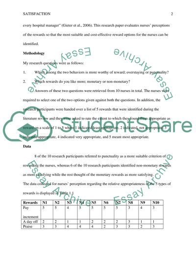 Satisfaction Nurse Research Paper