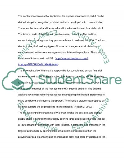 Control Mechanisms of Wal-Mart essay example