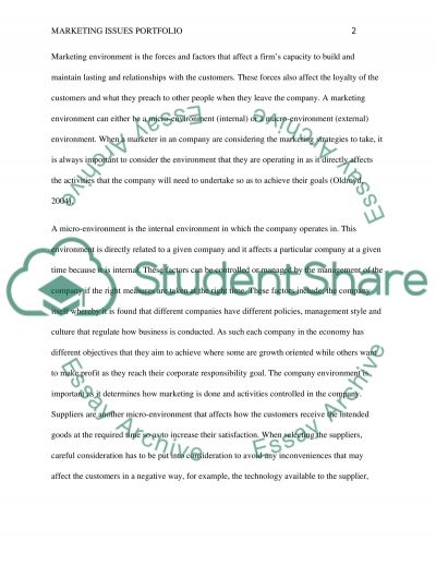 Marketing issues portfolio essay example