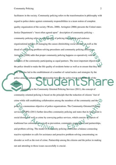 Personal Essay Examples For High School Community Policing  Term Paper Example Thesis Statement Descriptive Essay also Examples Of Thesis Statements For Argumentative Essays Community Policing Term Paper Example  Topics And Well Written  Persuasive Essay Thesis Statement Examples