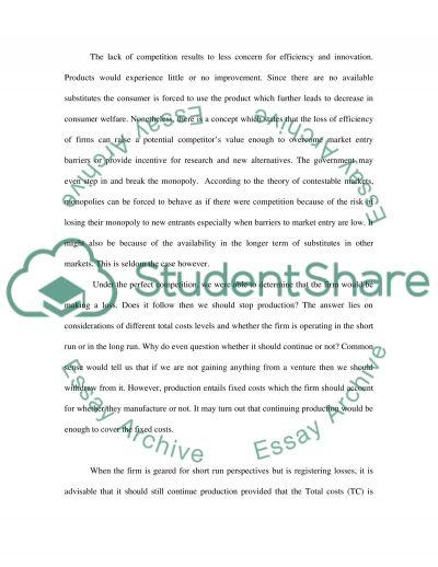 MBA - Economics - MicroEconomics essay example