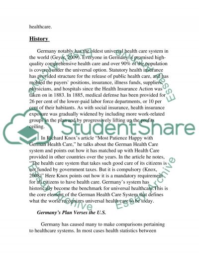 Germanys Healthcare System essay example