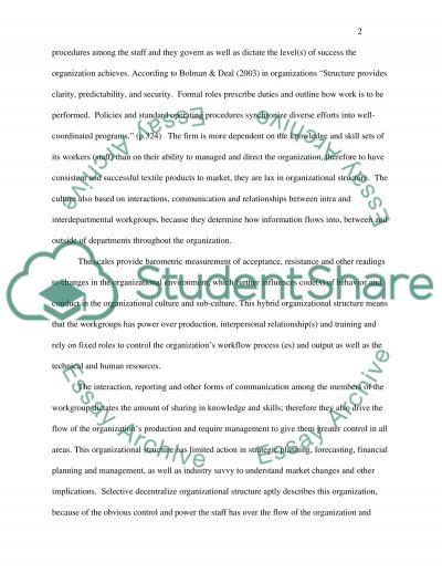 Organizational Problem essay example