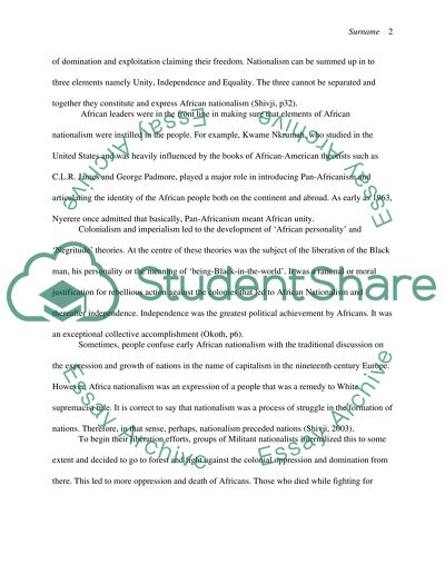 Essay Writing Examples For High School The Rise Of African Nationalism Topics For An Essay Paper also Examples Of Thesis Statements For Expository Essays The Rise Of African Nationalism Essay Example  Topics And Well  Science And Society Essay