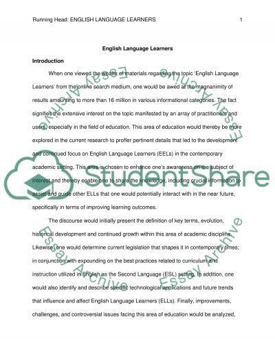 English Language Learners essay example