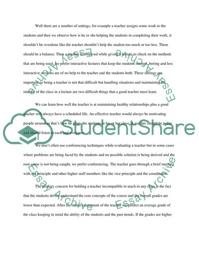 Teacher evaluation essay