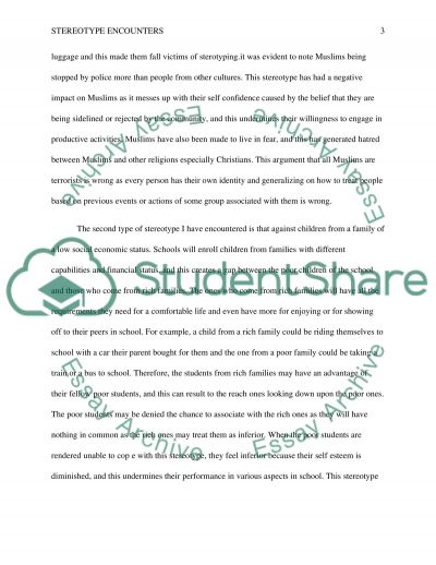 Philosophy Term Paper on Stereotype Encounters essay example