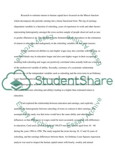 Returns to Education in UK essay example