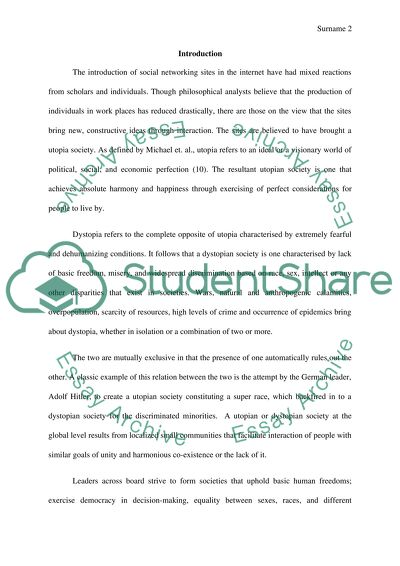 Research Paper Essay Social Networking And Whether It Helps Create A Utopian Or Dystopian Society Healthy Food Essays also Compare And Contrast Essay Examples For High School Social Networking And Whether It Helps Create A Utopian Or Dystopian  High School Entrance Essays