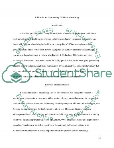 Ethical Issues Supporting Children Advertising essay example