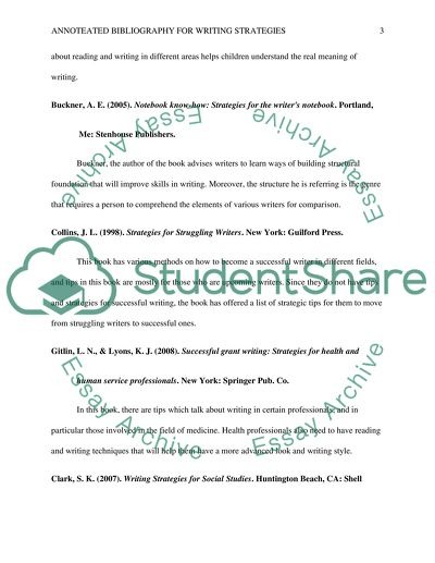 Annotated Bibliography for Writing Strategies