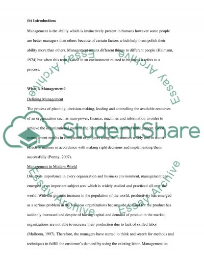 Ethical aspect in management essay example