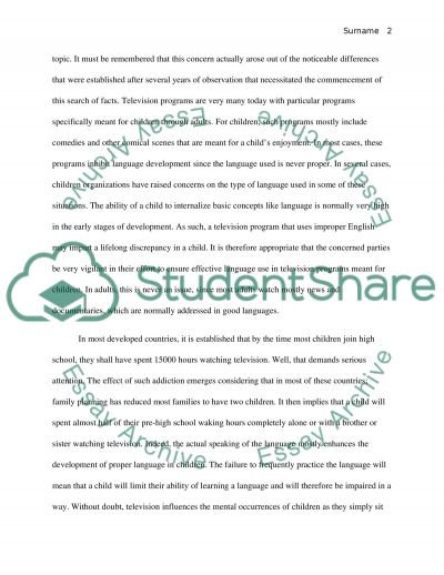 Effect of Television on language development essay example