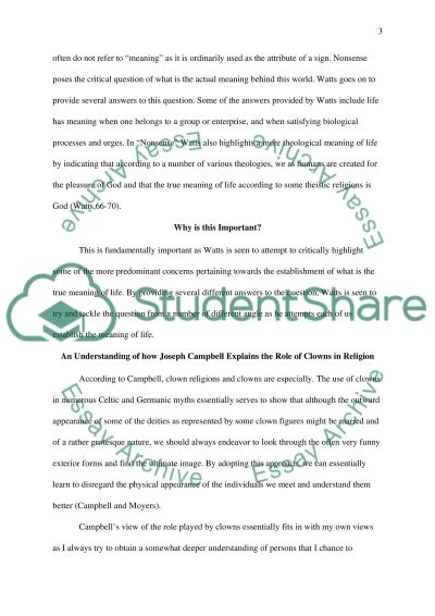 Thinking Through Religions 3 essay example