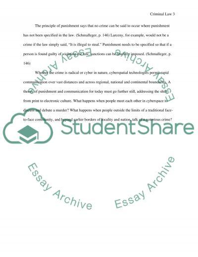 Criminal Law Bachelor Essay essay example