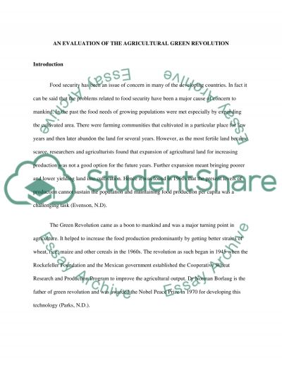 An evaluation of the agricultural green revolution essay example