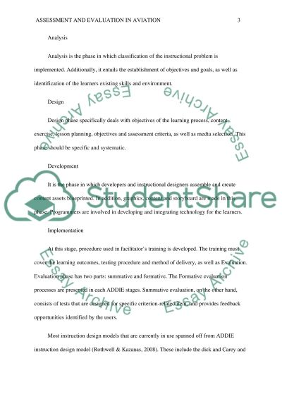 Assessment and Evaluation in aviation learning essay example
