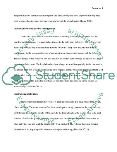 Essay about leadership and service