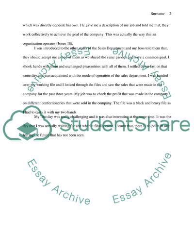 Use a combination of Narration and Description to develop an essay on your first day at job