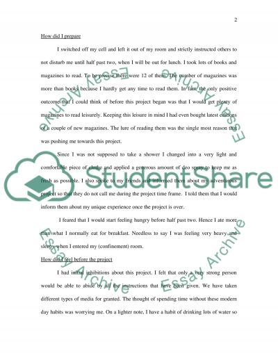 Confinement Assignment essay example