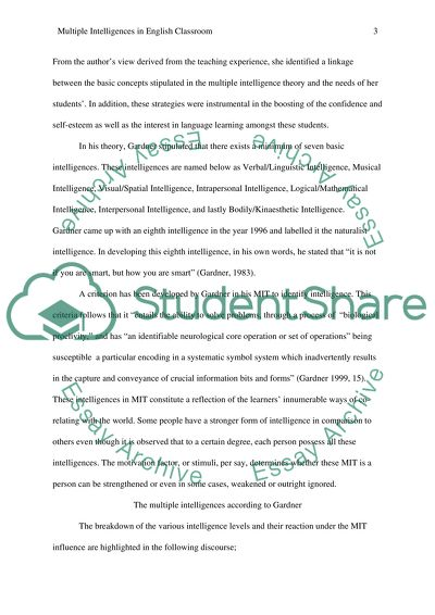 Essay In English Language A Theroretical Written Paper  Discuss Howard Gardners Intelligence Theory  How Could The Teacher Implement Science Fiction Essays also Writing Essay Papers A Theroretical Written Paper  Discuss Howard Gardners Intelligence  How To Write A Good Thesis Statement For An Essay