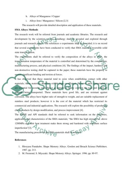 Shape Memory Alloy essay example