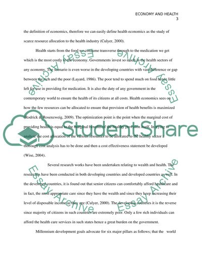Economy and Health Research Paper
