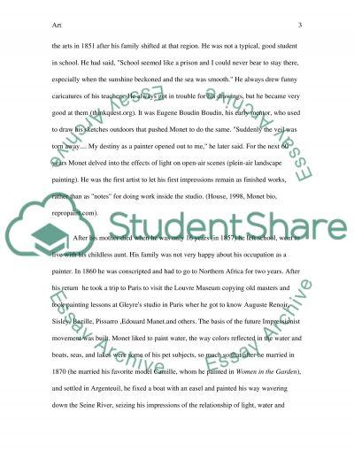 Monet essay example
