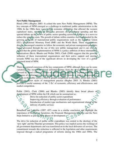 New Public Management Master Essay