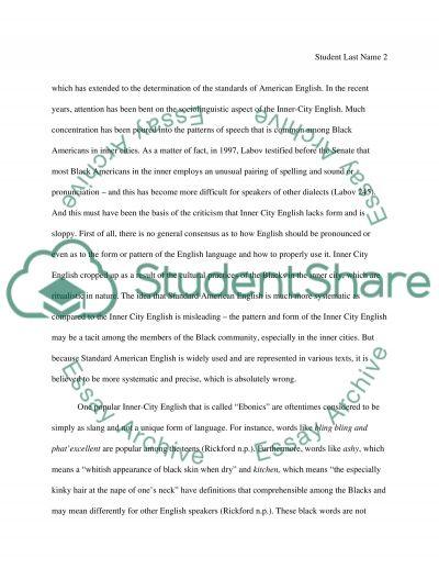 Inner-City English essay example