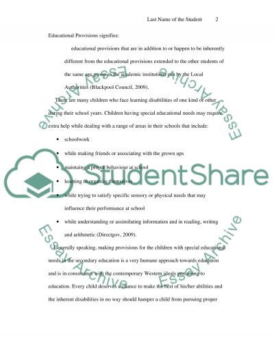 Inclusion - Special Educational Needs essay example