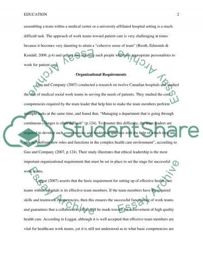 Organizational Reuirements for Work Teams essay example