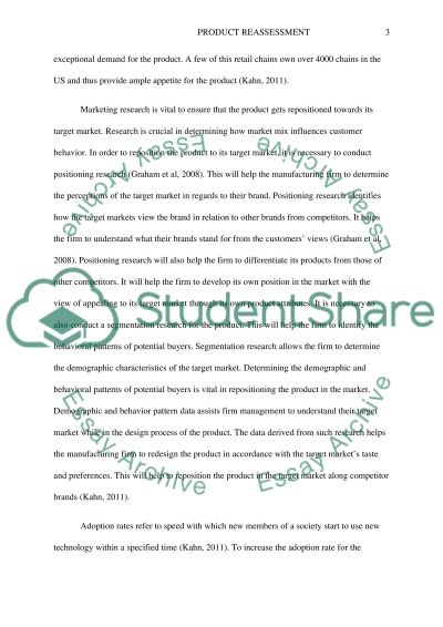 Product Reassesment research paper