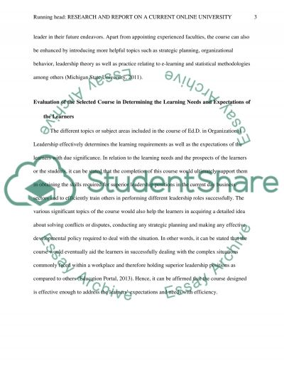Research and Report on a Current Online University essay example