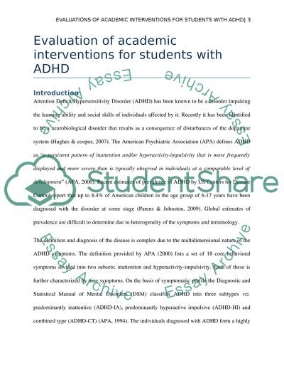 Academic Interventions for Students with ADHD Essay