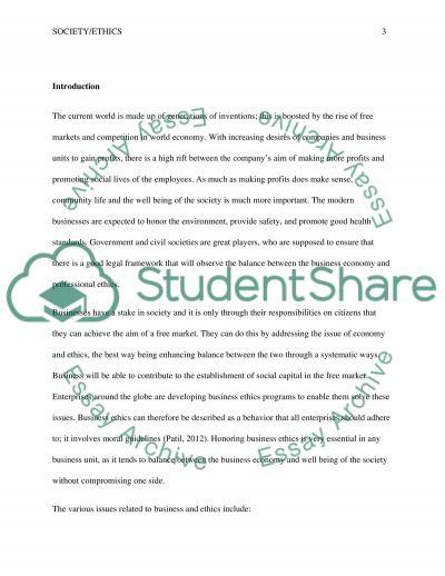 Society / Ethics essay example