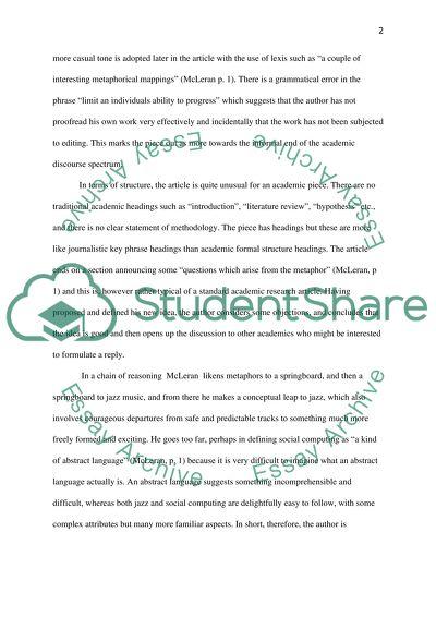 Summary Analysis essay