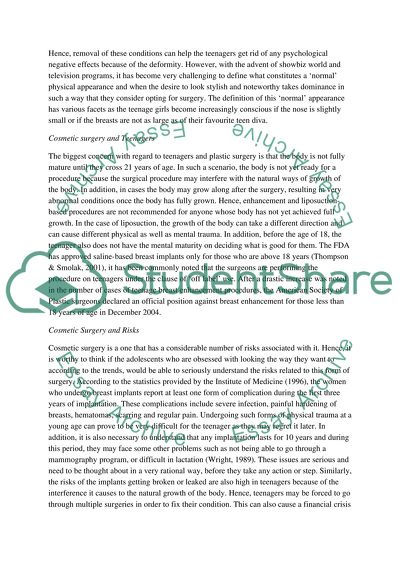 Thesis For Essay Teenage Cosmetic Surgery English As A World Language Essay also What Is A Thesis Of An Essay Teenage Cosmetic Surgery Essay Example  Topics And Well Written  Private High School Admission Essay Examples