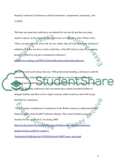 Conferences and conventions essay example