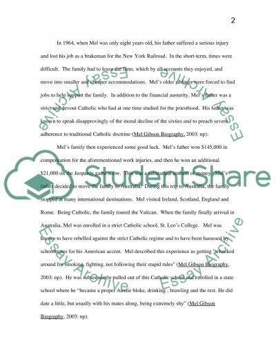 Mel Gibson: Lifespan Development and Personality essay example
