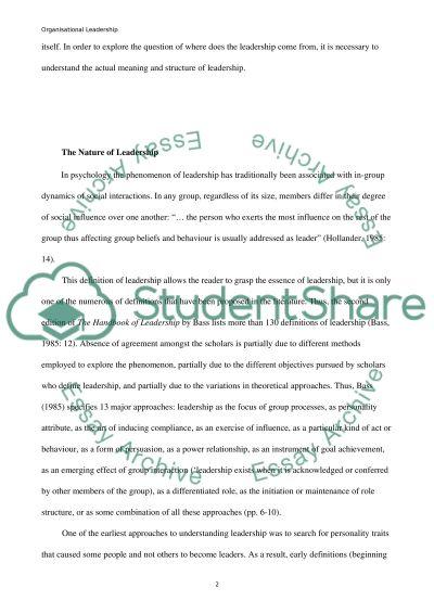 Organizational Leadership essay example