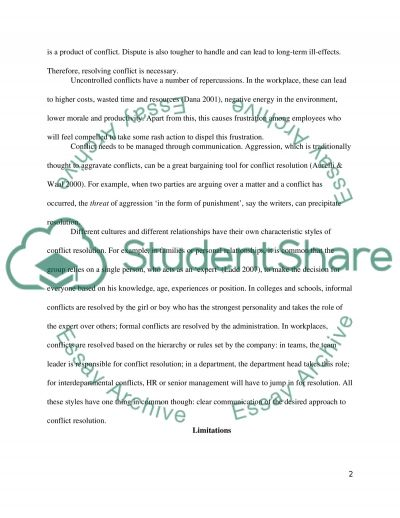 Conflict Resolution essay example