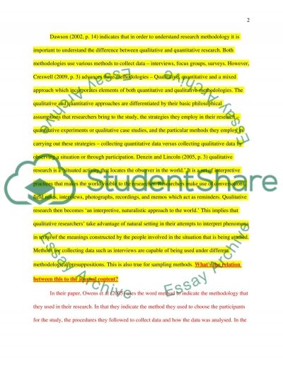 Critical thinking on research methodologies and methods used in the paper essay example