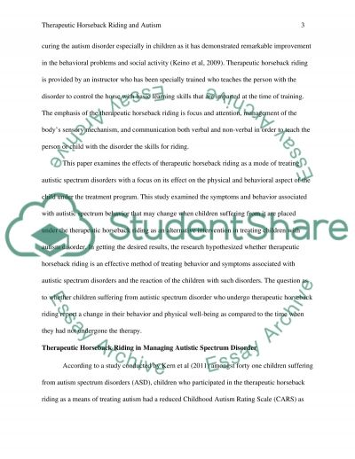 Therapeutic Horseback Riding and Autism essay example