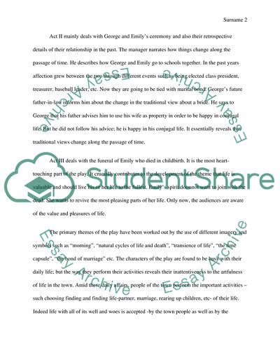 Essay About The Play Our Town Example  Topics And Well Written  Essay About The Play Our Town