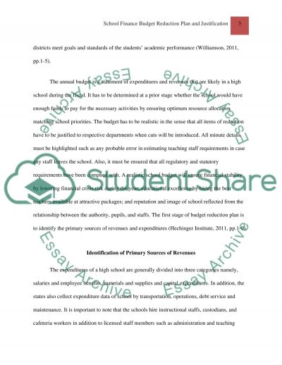 SCHOOL FINANCE BUDGET REDUCTION PLAN AND JUSTIFICATION essay example