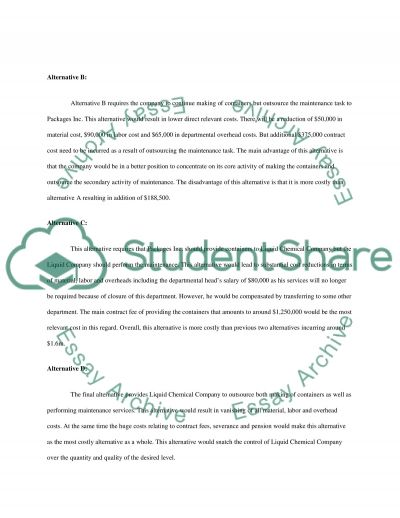 Cost Analysis for Decision Making essay example
